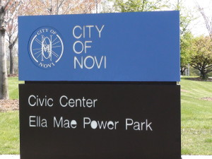 Novi Michigan Ella Mae Power Park sign