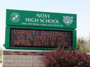 Novi Michigan High School Sign