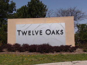 Novi Michigan Twelve Oaks Sign